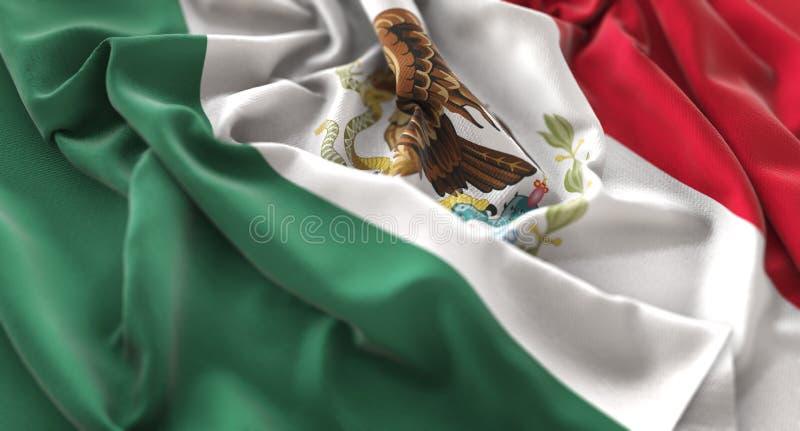 Skott för Mexico flagga rufsat Beautifully vinkande makronärbild royaltyfri bild