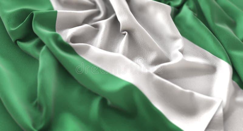 Skott för Nigeria flagga rufsat Beautifully vinkande makronärbild royaltyfri bild