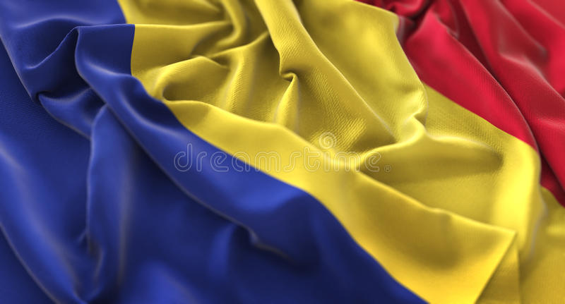 Skott för Rumänien flagga rufsat Beautifully vinkande makronärbild arkivbilder