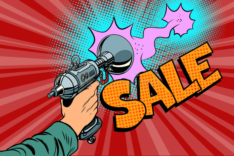Skott för Sale inskriftscience av ett komiskt moln för Blaster stock illustrationer