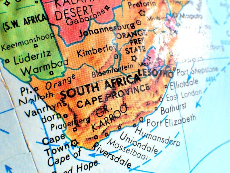 Skott för Sydafrika fokusmakro på jordklotöversikten för loppbloggar, socialt massmedia, websitebaner och bakgrunder royaltyfri bild