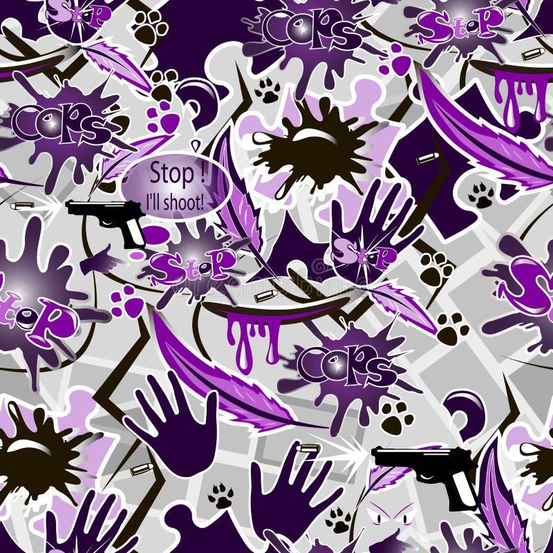 Skott, kula, hand, vapen och bokstäver på purpurfärgad sömlös bakgrund royaltyfri bild