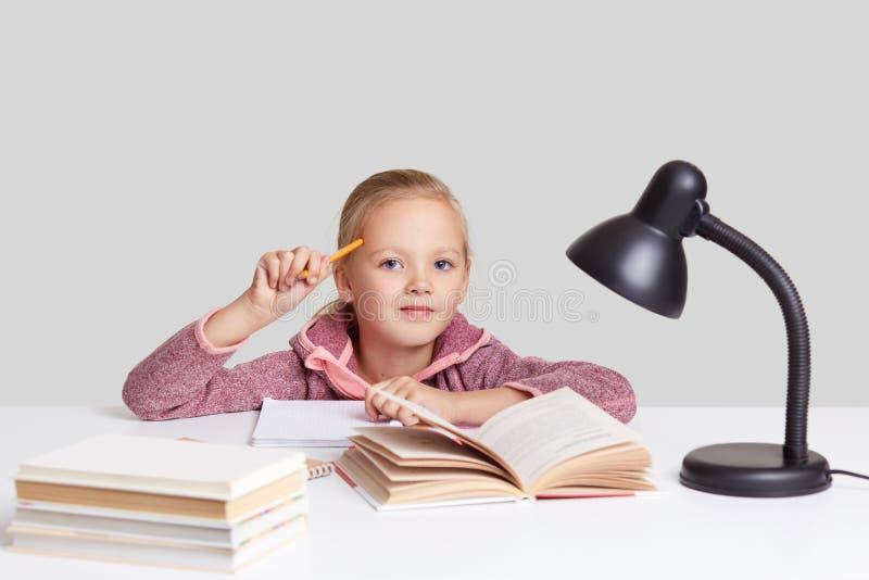 Skottet av den härliga lilla flickan med ganska hår, rymmer blyertspennan, drar i anteckningsbokblankoark av papper, läser boken, arkivfoton