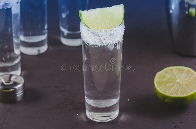 Skottet av vodka och stycken av limefrukt/sköt av vodka och stycken av limefrukt Selektivt fokusera royaltyfria foton
