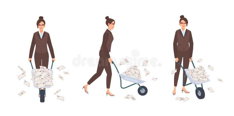 Skottkärra för iklädd elegant dräkt för kontor för sekreterarekvinna bärande mycket av bokstäver i kuvert Kvinnlig tecknad film royaltyfri illustrationer
