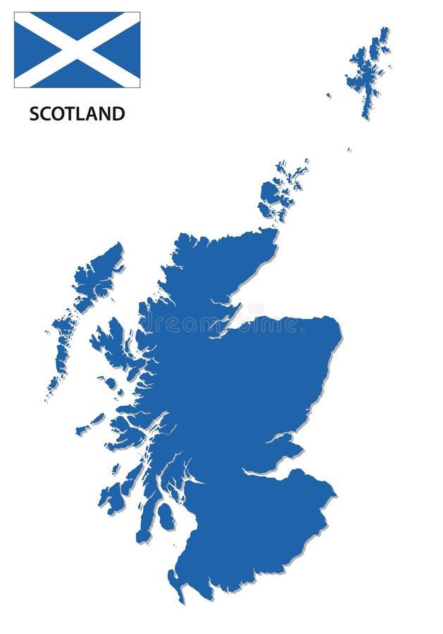 Skottland översikt med flaggan royaltyfri illustrationer
