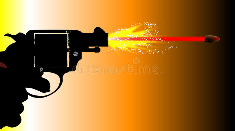 Skottlossning Snub Nose Revolver royaltyfri illustrationer