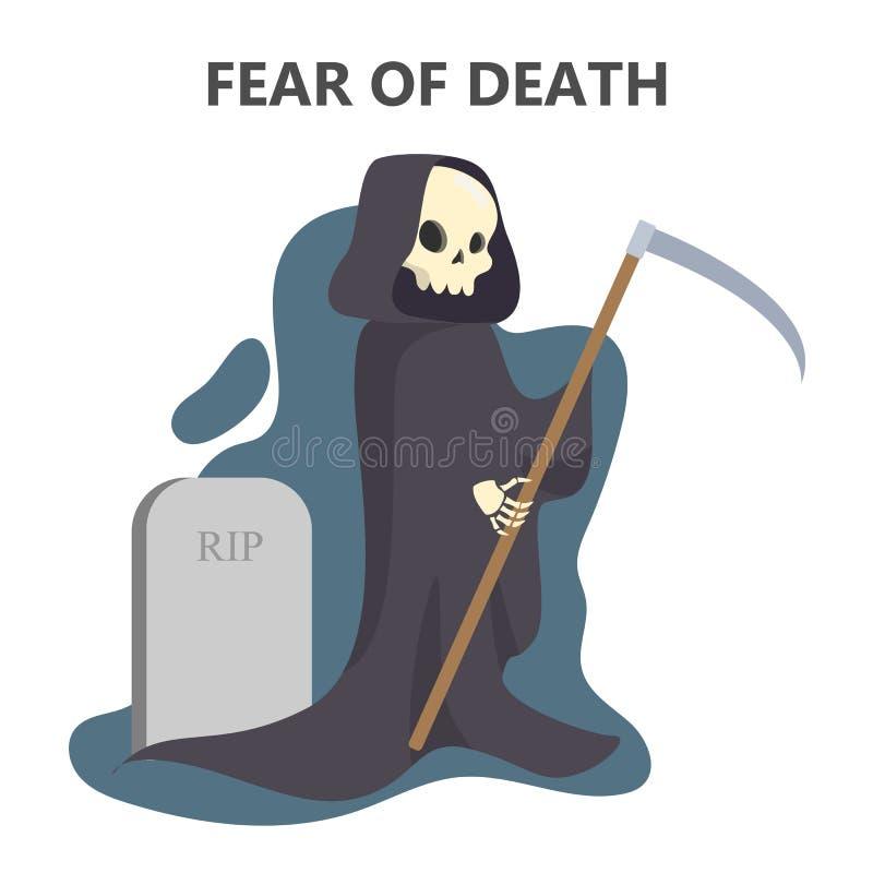 Skräck av död Fasatecken i svart ämbetsdräkt royaltyfri illustrationer