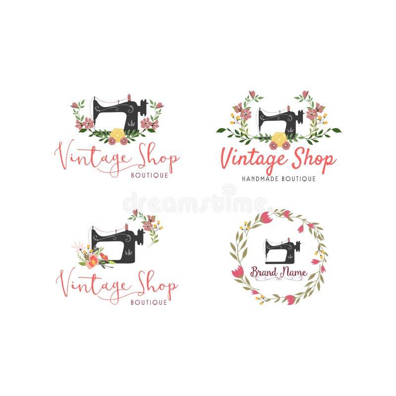 Skräddare Sewing Vintage Set, mode, blom- Retro Logo Template vektor illustrationer
