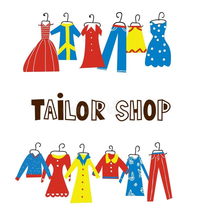 Skräddaren och sömnaden shoppar bakgrund med kläder royaltyfri illustrationer