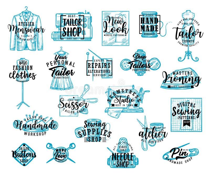 Skräddaren shoppar symaskinen, visaren och sax stock illustrationer