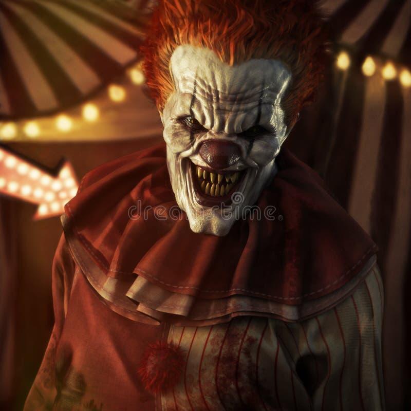 Skrämmande ondska som ser clownen som framme poserar av ett cirkustält vektor illustrationer