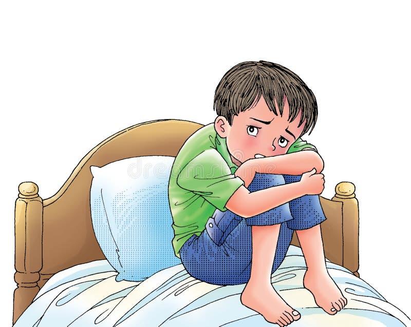 skrämmd pojke stock illustrationer