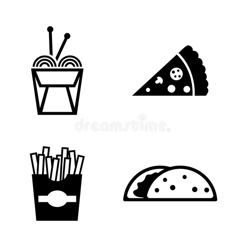 Skräpmat Enkla släkta vektorsymboler vektor illustrationer