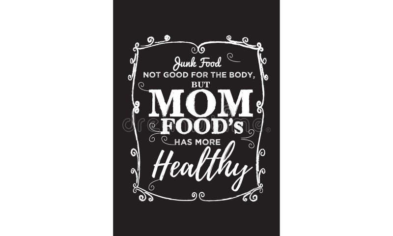 Skräpmat som inte är bra för kroppen, men mammafoods, har mer sund stock illustrationer