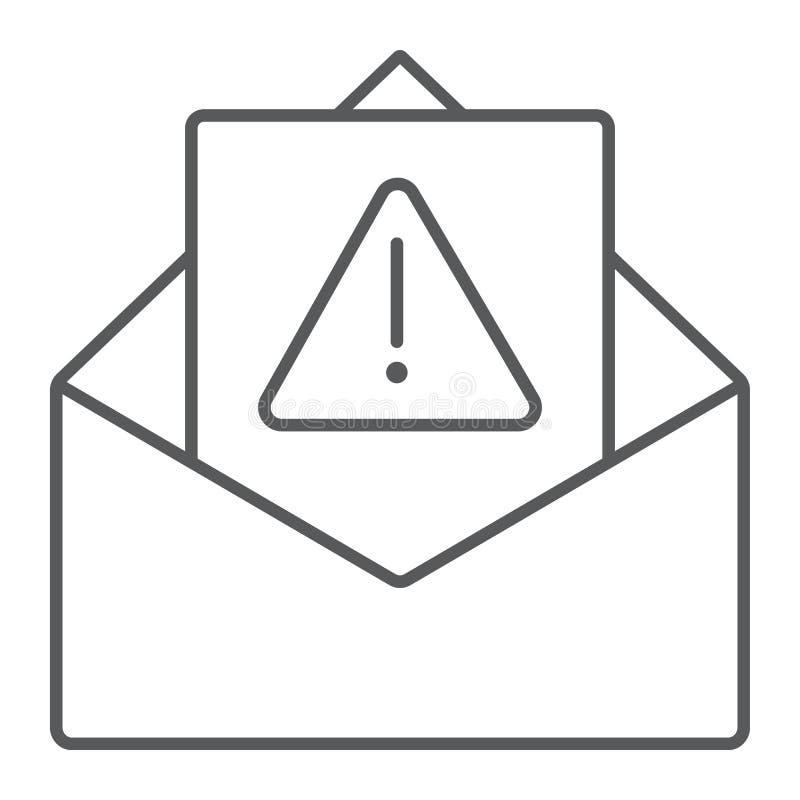 Skräppost som varnar den tunna linjen symbol, bokstaven och emailen, vaket posttecken, vektordiagram, en linjär modell på en v stock illustrationer