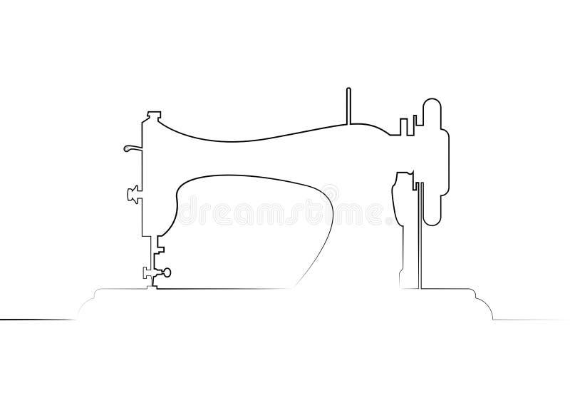 Skr?ddarevektorlogo Enkel linje mall för teckningssymaskinlogo Modelogo Fortlöpande linje symaskinvektorlinje vektor illustrationer
