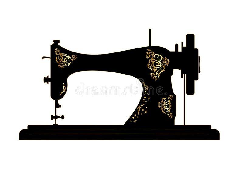 Skr?ddarevektorlogo Symaskinlogomall Modelogo Gammal tappningsymaskin med retro blom- guld- garneringar royaltyfri illustrationer