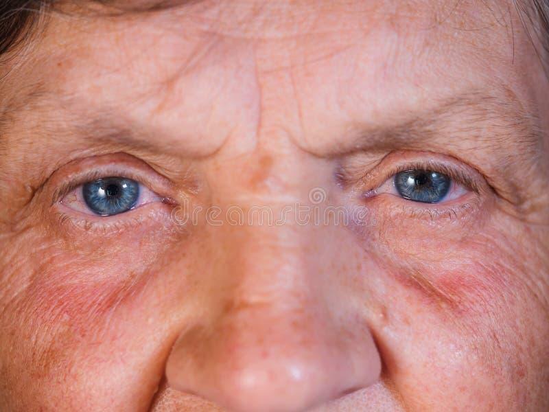 Skracanie uczeń Piękny niebieskie oko irys w średnim wieku kobieta Peepers stara babcia z zmarszczeniami obrazy royalty free