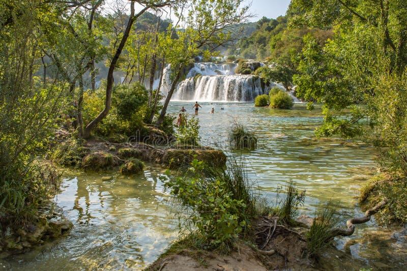 Skradinski Buk vattenfall i den Krka nationalparken - Dalmatia Kroatien, Europa arkivbild