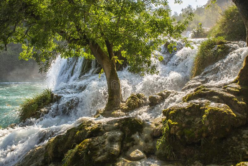 Skradinski Buk vattenfall i den Krka nationalparken - Dalmatia Kroatien, Europa royaltyfri fotografi
