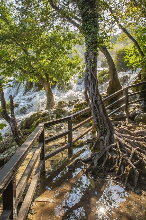 Skradinski Buk vattenfall i den Krka nationalparken - Dalmatia Kroatien, Europa royaltyfria bilder