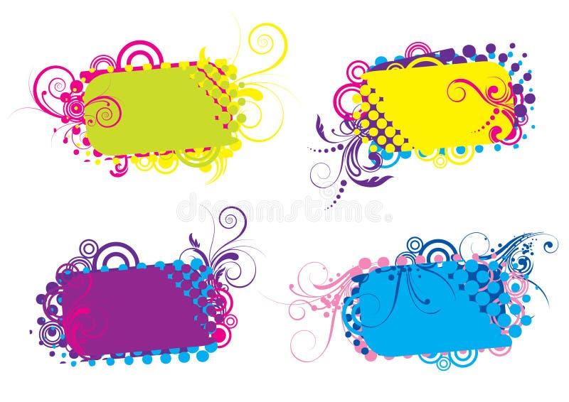 Skraj färgrika bakgrunder stock illustrationer