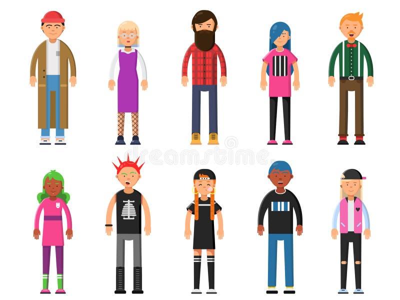 skraj folkbarn Kvinnliga Hipsterstecken som är manliga och royaltyfri illustrationer