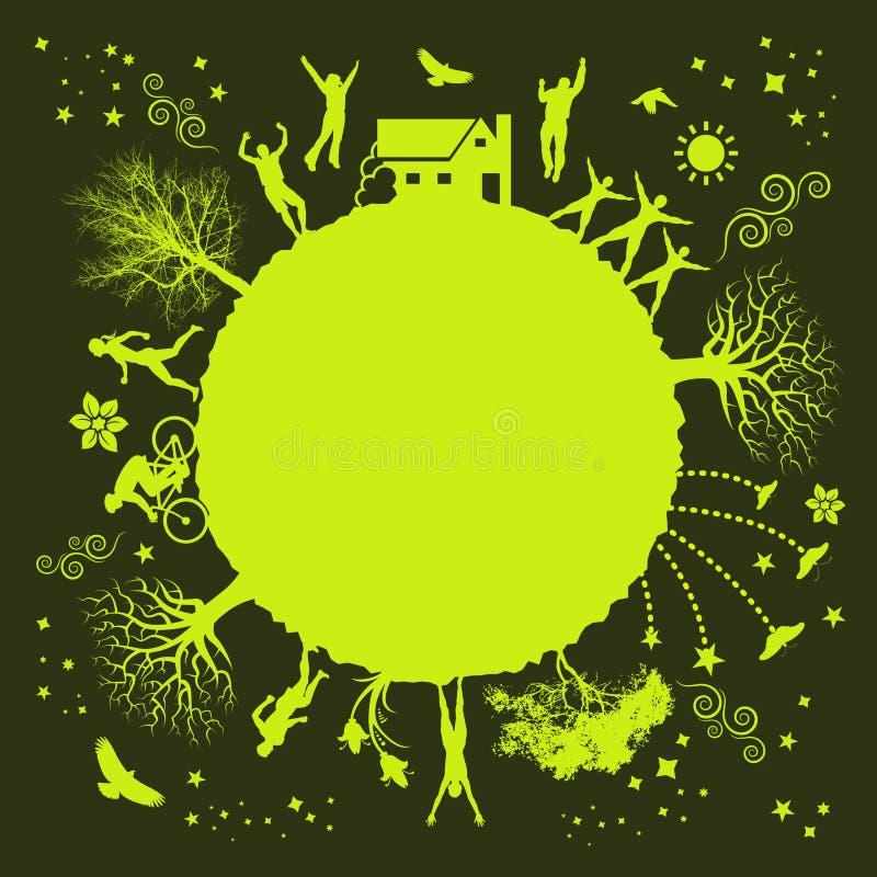 skraj grön växt royaltyfri illustrationer