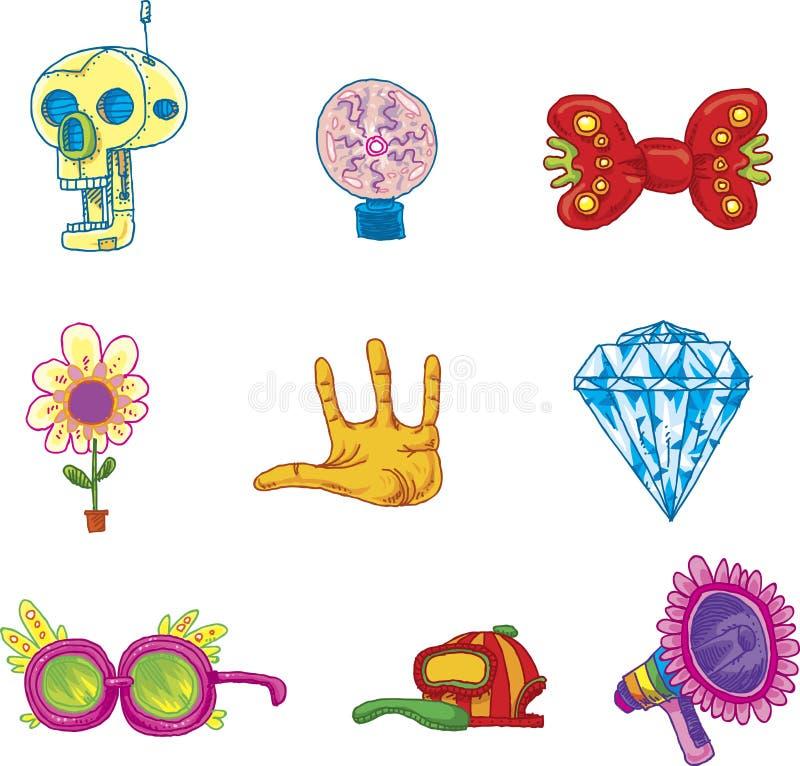 Skraj materialsymbolssamling royaltyfri illustrationer