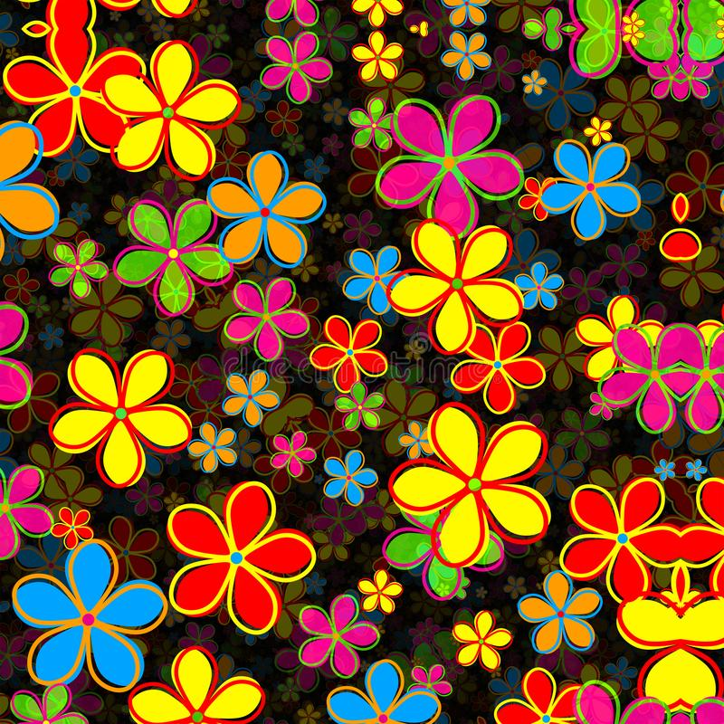 Skraj Retro Daisy Flower Pattern vektor illustrationer