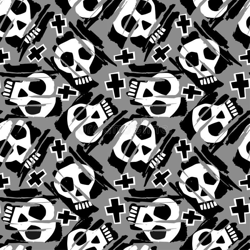 Skraj sömlös grov grungemodell för skalle, templat för modern design royaltyfri illustrationer