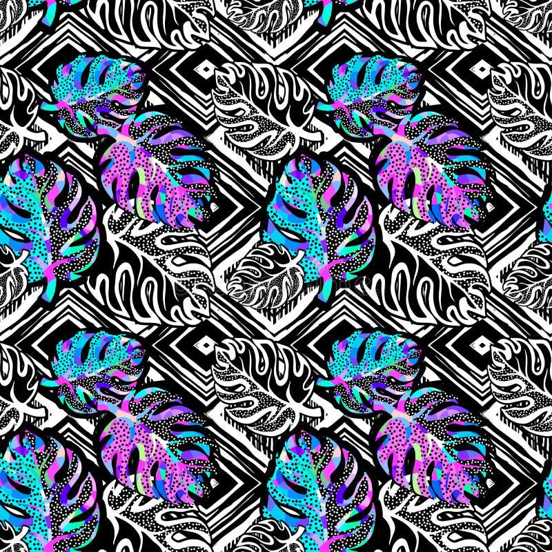 Skraj sömlös modell för palmbladsommar vektor illustrationer