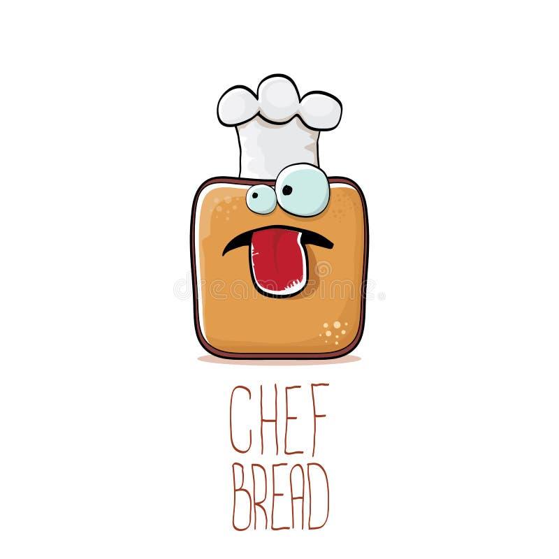 Skraj tecknad film för vektor som ler teckenet för rostat brödbrödkock med den vita kockhatten som isoleras på vit bakgrund Bager royaltyfri illustrationer