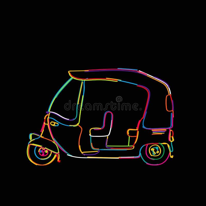 Skraj tuktuk stock illustrationer