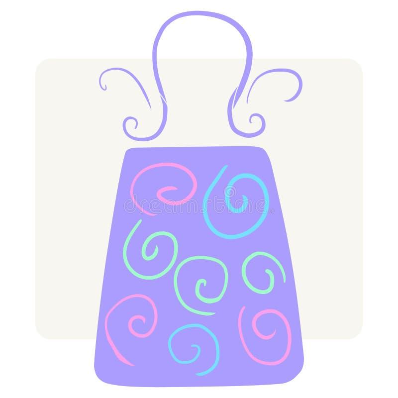 Skraj violett shoppingpåse med färgrik krullning vektor illustrationer