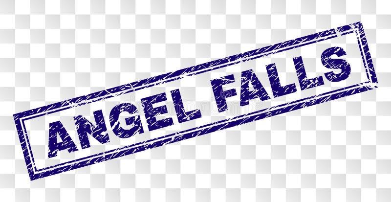 Skrapad ANGEL FALLS rektangelstämpel royaltyfri illustrationer