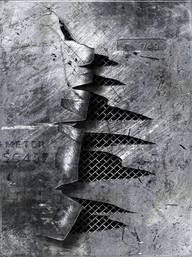 skrapad metall som rivas sönder royaltyfri illustrationer