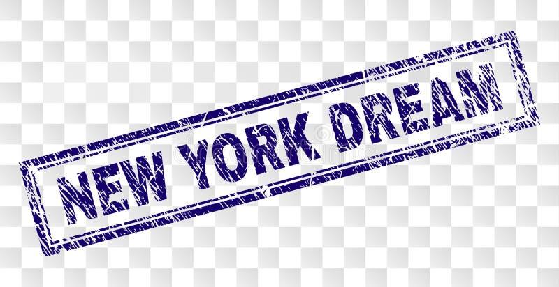 Skrapad NEW YORK DRÖM- rektangelstämpel vektor illustrationer