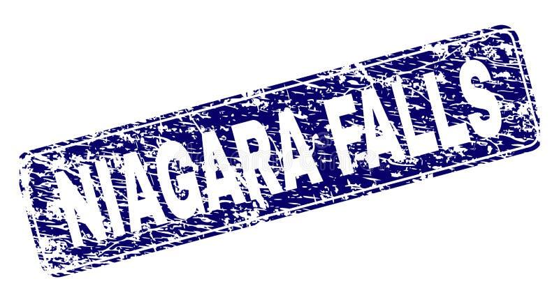 Skrapad NIAGARA FALLS inramad rundad rektangelstämpel royaltyfri illustrationer