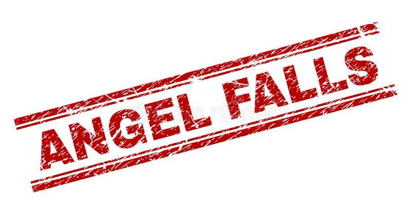 Skrapad texturerad ANGEL FALLS stämpelskyddsremsa stock illustrationer