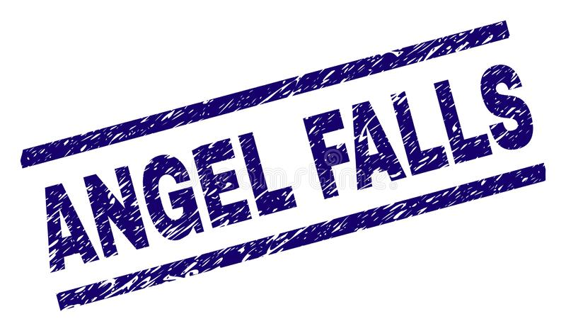 Skrapad texturerad ANGEL FALLS stämpelskyddsremsa royaltyfri illustrationer