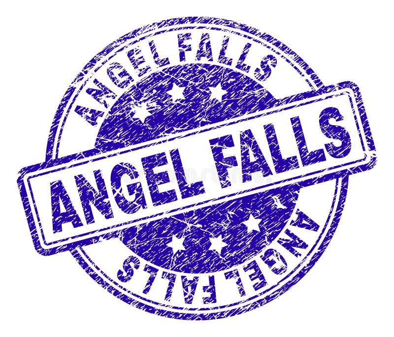 Skrapad texturerad ANGEL FALLS stämpelskyddsremsa vektor illustrationer