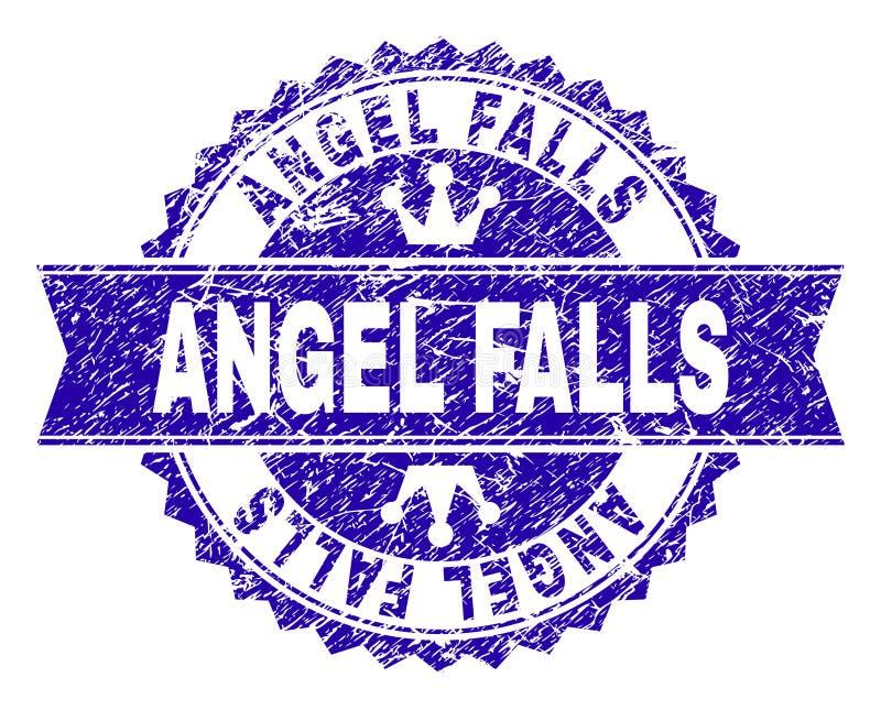 Skrapad texturerad ANGEL FALLS stämpelskyddsremsa med bandet royaltyfri illustrationer