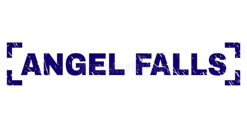 Skrapad texturerad ANGEL FALLS stämpelskyddsremsa mellan hörn stock illustrationer