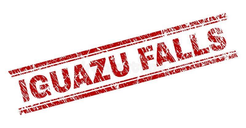 Skrapad texturerad IGUAZU FALLS stämpelskyddsremsa vektor illustrationer