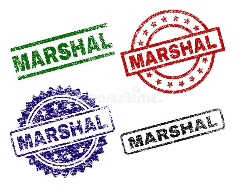 Skrapad texturerad MARSKALK Stamp Seals vektor illustrationer