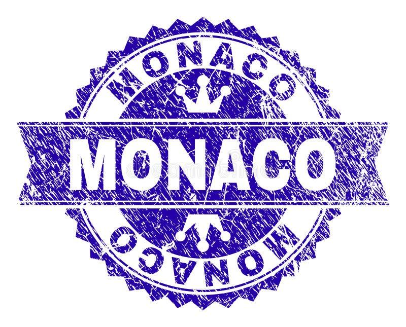 Skrapad texturerad MONACO stämpelskyddsremsa med bandet stock illustrationer