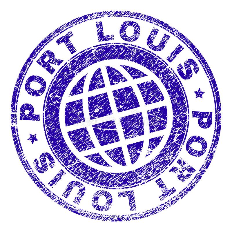 Skrapad texturerad PORT LOUIS Stamp Seal vektor illustrationer
