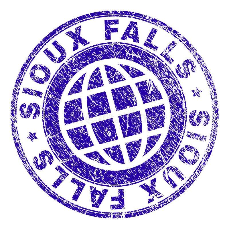 Skrapad texturerad SIOUX FALLS stämpelskyddsremsa vektor illustrationer